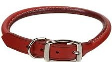 Rolled leather collar for dogs